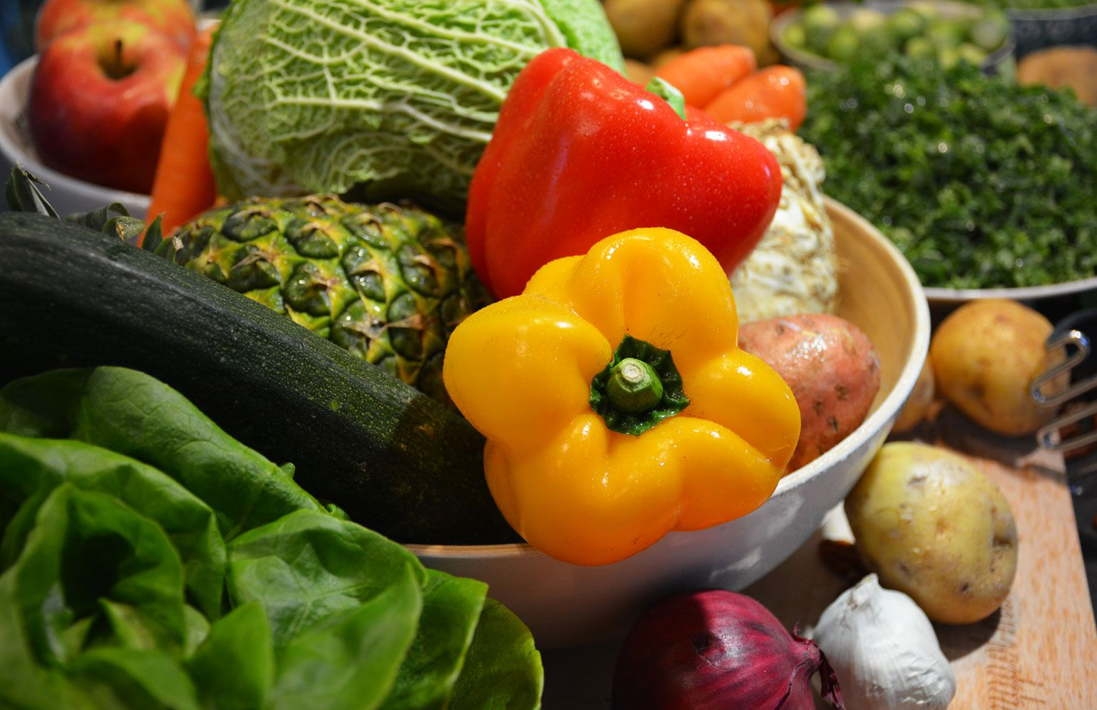 Wortelstamppot met vegetarische schnitzels